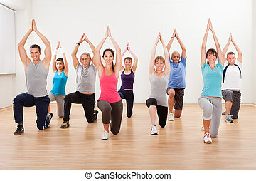 Group of people doing aerobics exercises - Large diverse...