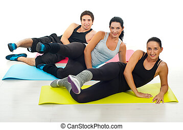 Group of people doing exercises