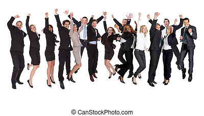 Group of people excited business people - Large group of...