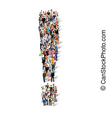Group of people exclamation poster - Group crowd of people...