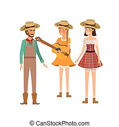 group of people farmers with musical instrument