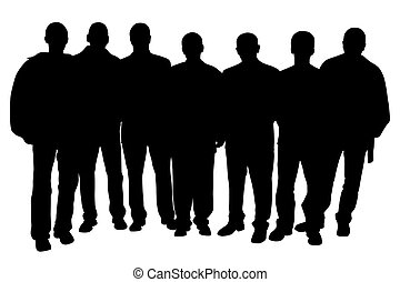 Group of seven young men people. Isolated white background. EPS file available.