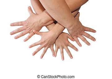 Group of people hands on white background
