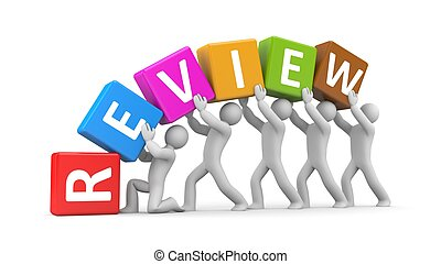 Group of people hold cubes with text review - People in...