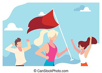 group of people holding a red flag