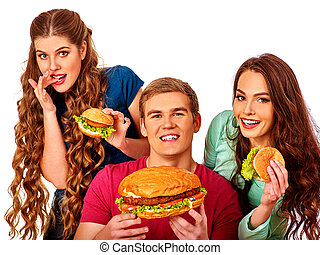 Group of people holding big tasty burgers.