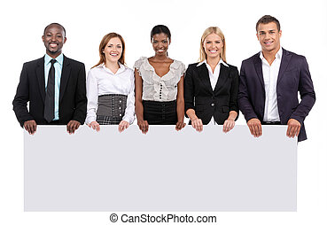 Group of people holding board