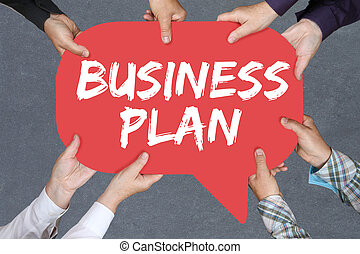 Group of people holding business plan analysis strategy success company
