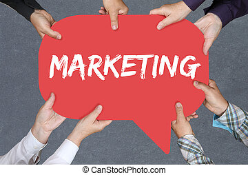 Group of people holding marketing and advertisement office business concept