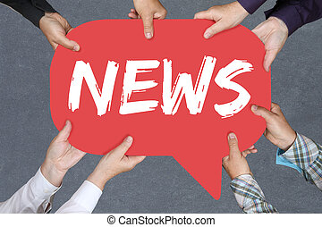 Group of people holding news media announcement announce information