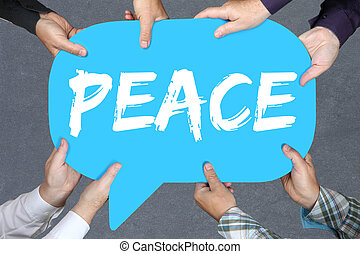 Group of people holding peace war peaceful concept