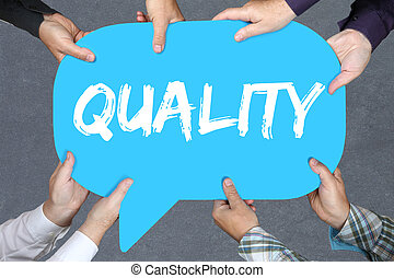 Group of people holding Quality control management success business concept successful
