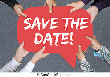 Group of people holding Save the date invitation message information