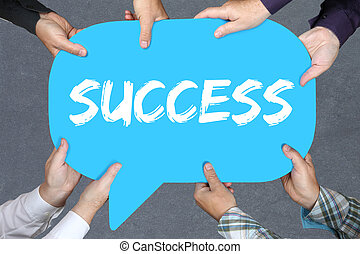 Group of people holding success successful career business concept leadership