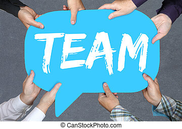 Group of people holding team teamwork working together business concept