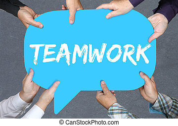 Group of people holding teamwork team working together business concept success