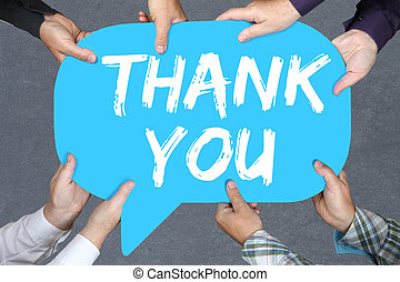 Group of people holding thank you