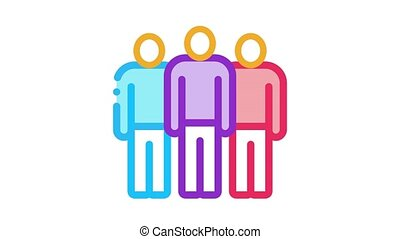 group of people Icon Animation. color group of people animated icon on white background