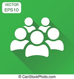 Group of people icon. Business concept persons pictogram. Vector illustration on green background with long shadow.