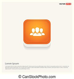 Group of people icon.  Orange Abstract Web Button