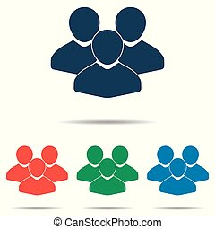 Group of people icon set - simple flat design isolated on white background, vector