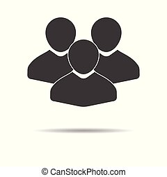 Group of people icon - simple flat design isolated on white background, vector