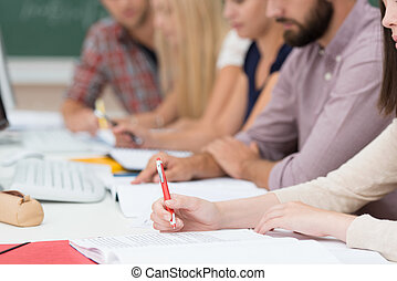 Group of people in a meeting or class