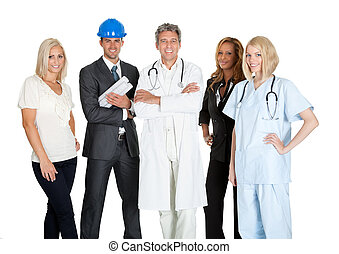 Group of people in different occupations on white