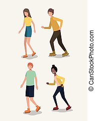 group of people in roller skates
