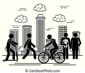 group of people in the city