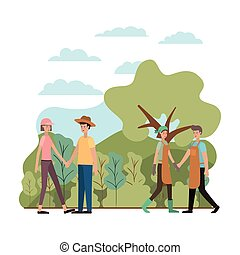 group of people in the landscape avatar character