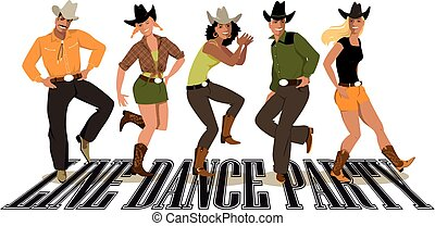 Group of people in western country clothes dancing line dance, EPS 8 vector illustration