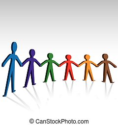 Group of people joining hands together