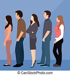 group of people man woman queue line standing waiting vector
