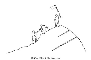 Group of people on the mountaintop One line drawing Business, teamwork, success, help and goal concept.