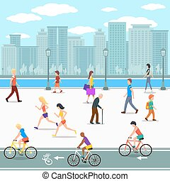 Group of people on promenade on city river street. Flat illustration. Vector bicycle and summer leisure, lifestyle active, activity human walking