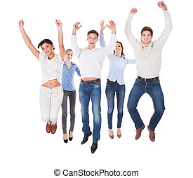 Group Of People Raising Hand