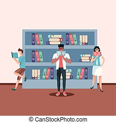 group of people reading books avatar character