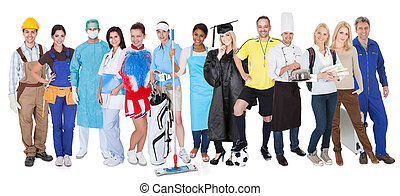 Group of people representing diverse professions - Large...