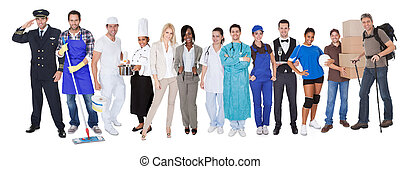 Group of people representing diverse professions - Large ...