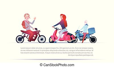 Group Of People Riding Different Motorcycles Electric Scooter And Motorbike Isolated On White Background With Copy Space