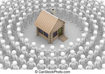 Group of people round a wooden small house. 3D image.