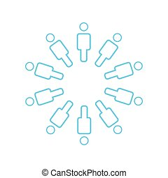 group of people standing around in the circle, team concept icon, vector illustration.