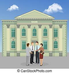 Group of people standing on bank building facade background banner vector illustration. Official men and women discussing financial issues or problems. Architecture building with columns.