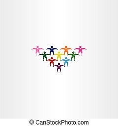 group of people students colorful vector icon logo