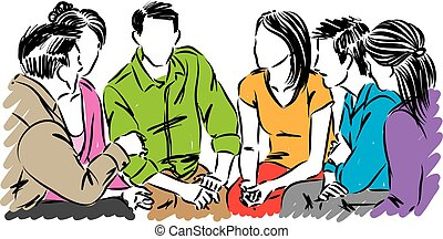 group of people talking together vector illustration