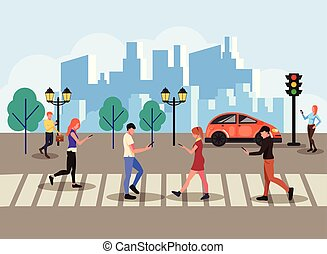 Group of people texting messages online by smartphone laptop internet social network and walking across pedestrian. Technology communication concept. Vector flat cartoon isolated banner poster illustration