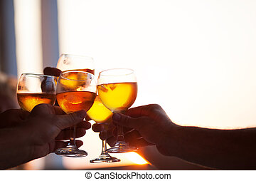 Group of people toasting at a celebration party
