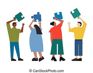 Group of people trying to put together puzze elements. Vector illustration of teamwork. Team of characters on the business discussion.