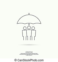 Group of people under protection of umbrella. The concept of...